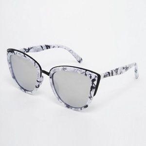 Quay My Girl Mirror Marble Cateye Sunglasses
